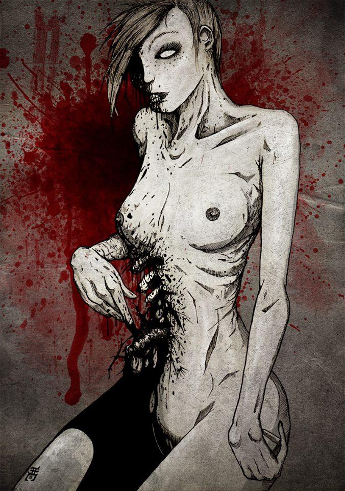 Dessin : en arrière plan, un mur, avec une énorme éclaboussure de sang. En premier plan, une femme nue, à genoux, de trois-quart gauche. Elle est très maigre, sa peau est blafarde, elle semble avoir été à moitié dévorée. Ses cheveux sont courts. Son visage est rongé du côté droit, on aperçoit dans l'ombre de ses cheveux que sa joue a disparu, on voit ses dents et l'absence d'un morceau de ses lèvres. Son œil gauche est entièrement blanc. Sous ses seins, son flanc droit a été dévoré. On voit ses côtes à vif. Le sang est noir. Son bras droit est replié à hauteur de cette zone, son bras gauche pend le long de son corps.