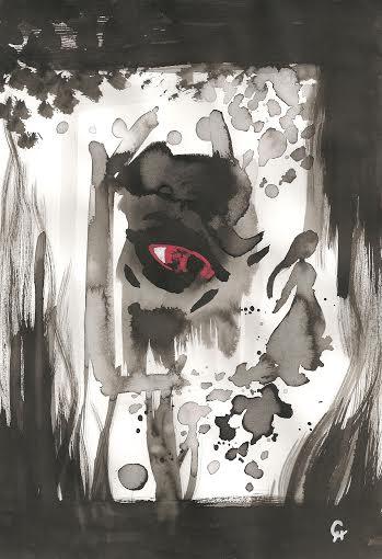 Peinture noire sur fond blanc : au centre, un œil énorme, avec le blanc de l'œil représenté en rouge vif, et une pupille noire. L'œil est encadré de noir. A droite de cet œil, la silhouette d'une jeune fille (une adolescente ?) est représentée en noir. Elle semble s'éloigner de l'œil, en laissant des traces noires derrière elle. L'œil regarde dans sa direction. L'ensemble de cette scène est entourée de traits épais et de tâches de peinture noire.