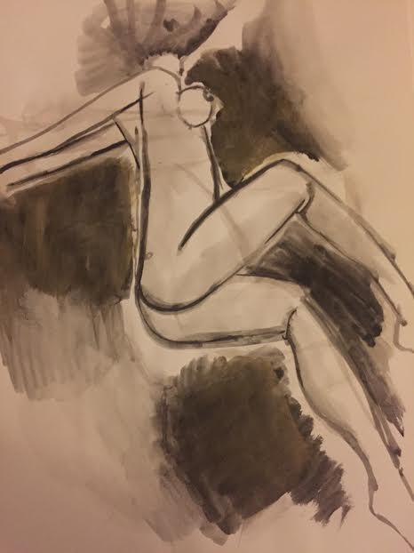 Peinture : au trait épais, en noir sur fond ocre, un corps de femme est couché su le flanc. Les genoux sont repliés contre le ventre, on voit ses fesses. Les bras sont étendus en arrière, la poitirne est mise en avant. Il n'y a pas de tête. Des taches sombres entourent le corps.