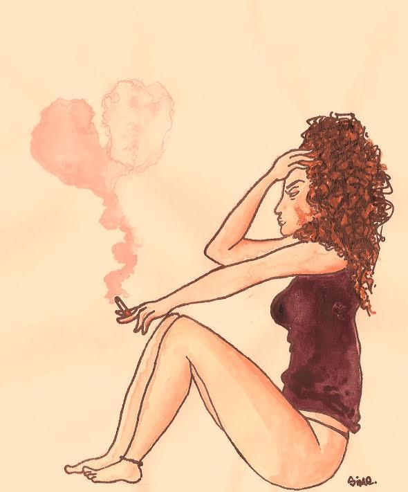 Dessin : sur fond rose, une jeune femme est assise sur le bas de la page, de profil. Elle a le dos bien droit et les genoux légèrement pliés. Elle regarde vers la gauche. Son bras gauche, tendu, est posé sur ses genoux, elle tient une cigarette au bout. Sa main droite est posée contre son front, son coude posé sur ses genoux. Elle regarde droit devant elle, la fumée de la cigarette monte en volutes roses vers le haut de la feuille. Elle ne porte qu'un string et une nuisette.