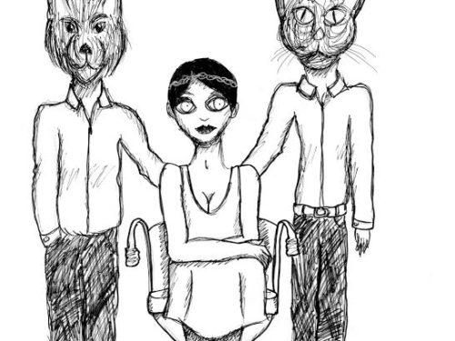 Dessin en noir et blanc au trait fin : sur fond blanc, en bas du cadre, au centre, une femme aux yeux immenses et vides est assise sur un fauteuil. Elle est entourée de deux personnages au corps d'hommes aux têtes d'animaux (à gauche, un chien, à droite, un chat). Ils portent tous les deux un pantalon élégant et une chemise, très classes. Tous ont un bras passant derrière le fauteuil de la femme.