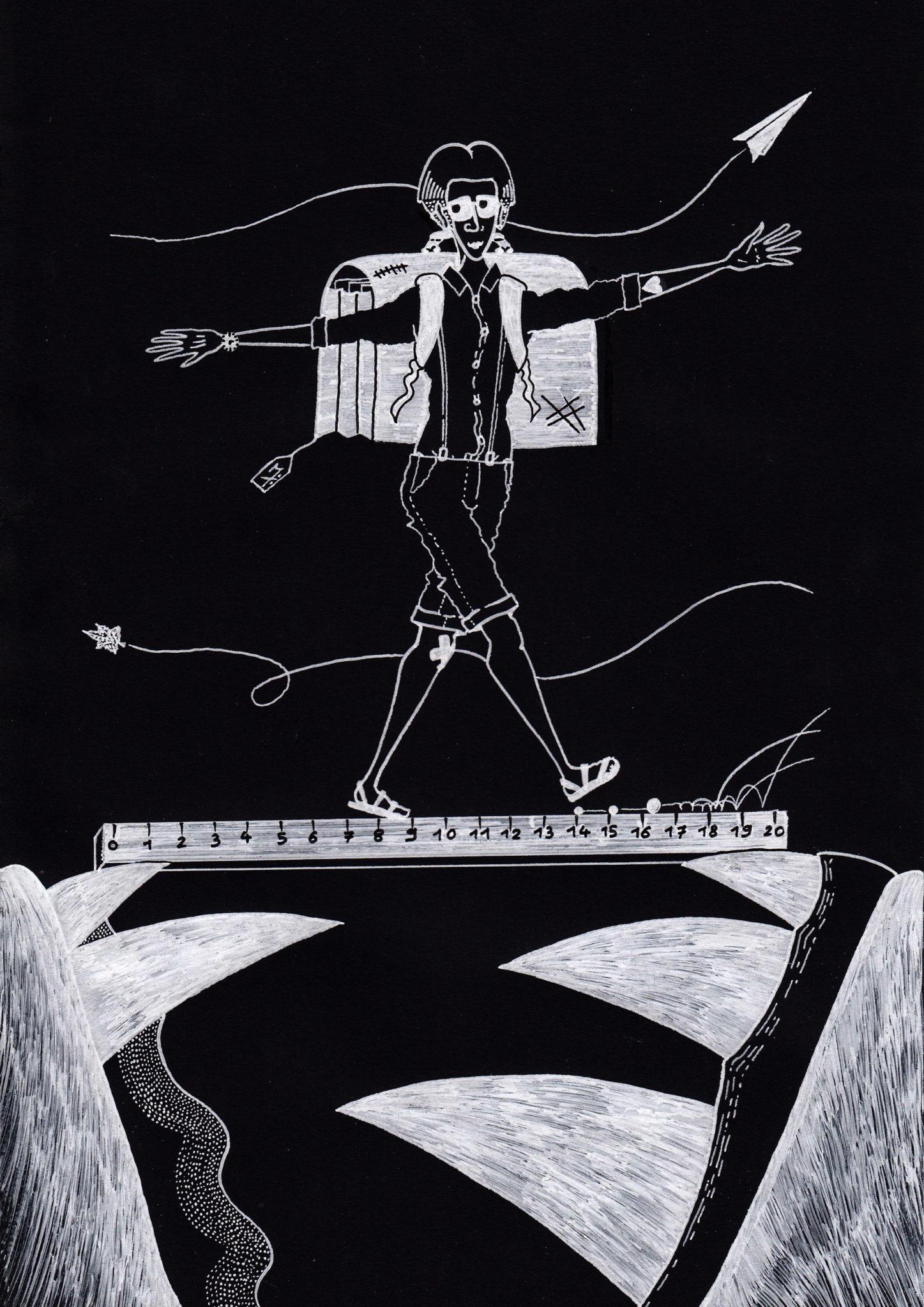 Dessin blanc sur fond noir : au-dessus d'une mâchoire ouverte repose une règle graduée sur laquelle marche un écolier, un gros cartable sur le dos.