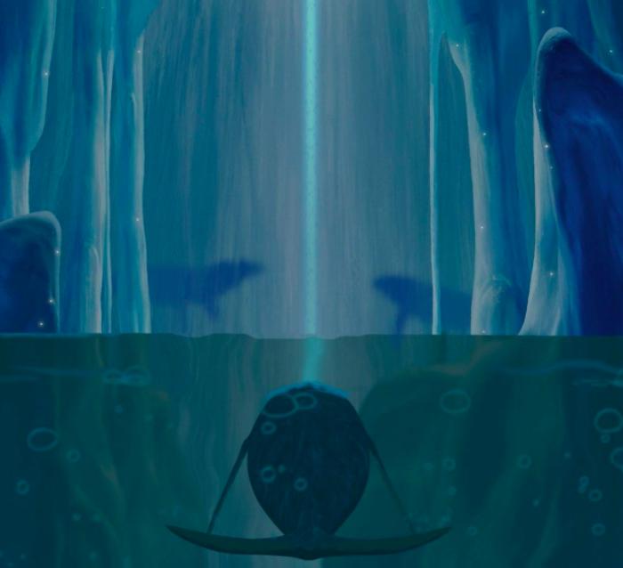 Aquarelle : tout es bleu, calme, apaisé. Peut-être est-on dans une grotte. L'image est à moitié sous l'eau, à moitié au-dessus, amphibie. Dans l'eau, en bas, une immense baleine regarde vers le heut et semble projeter un rayon lumineux, blanc, vers le haut. Ce rayon coupe l'image en deux, une partie gauche et une partie droite qui se ressemblent mais ne sont pas tou à fait miroir l'une de l'autre. Sur la rive, deux ombres de loup se détachent surle fond de ce qui semble être la paroi de la grotte et regardent, la tête levée, vers le bout, tout en haut, du rayon lumineux.
