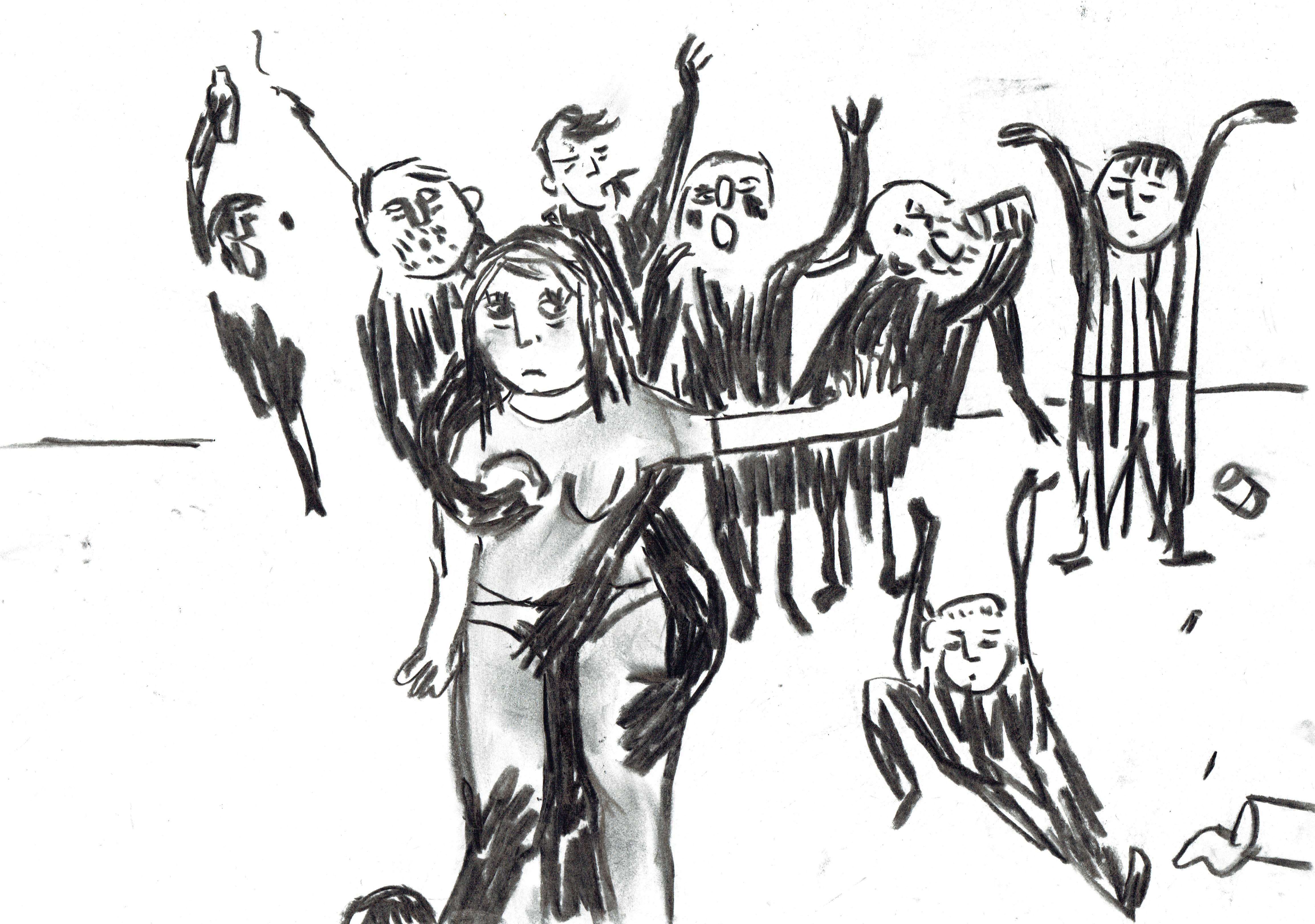 Sur un fond blanc, au trait noir épais, dessiné avec beaucoup de de lignes droites et d'angles. Au centre d'une foule de personnages en noirs, une femme, vêtue de gris, se fait attoucher par pleins de mains qui ne semblent appartenir à personne.