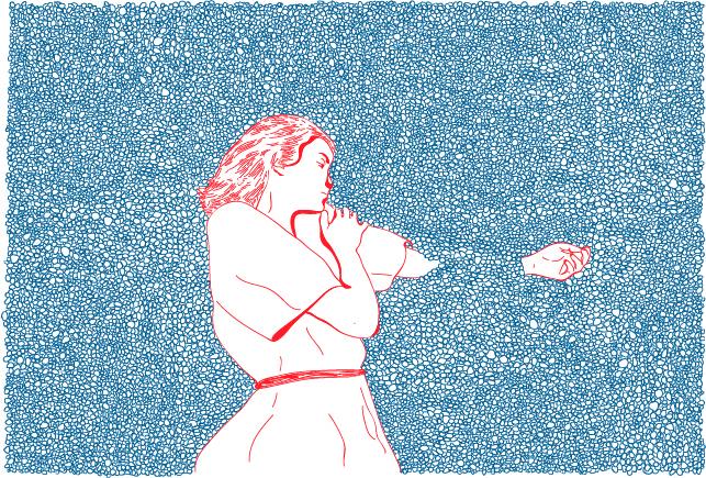 Dessin au stylo très fin : un grand rectangle rempli de petite bulles (?) de petits gravillons (?) bleus. En bas, au centre, une jeune femme dessinée en traits rouges, en robe d'été. Elle est allongée sur le côté, la tête vers le haut de l'image, le regard tournée vers la gauche. Son bras gauche, celui du dessous, est tendu et s'enfonce dans le fond de bulles/gravillons bleus. Seule la main en ressort.
