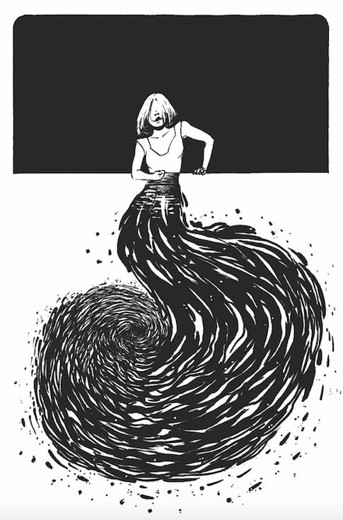 Dessin noir et blanc : sur la partie haute de l'illustration, un buste de femme se détache en blanc sur fond noir. En-dessous, la page est blanche et ce qui devrait être le corps de cette femme est un flot noir qui forme un tourbillon.