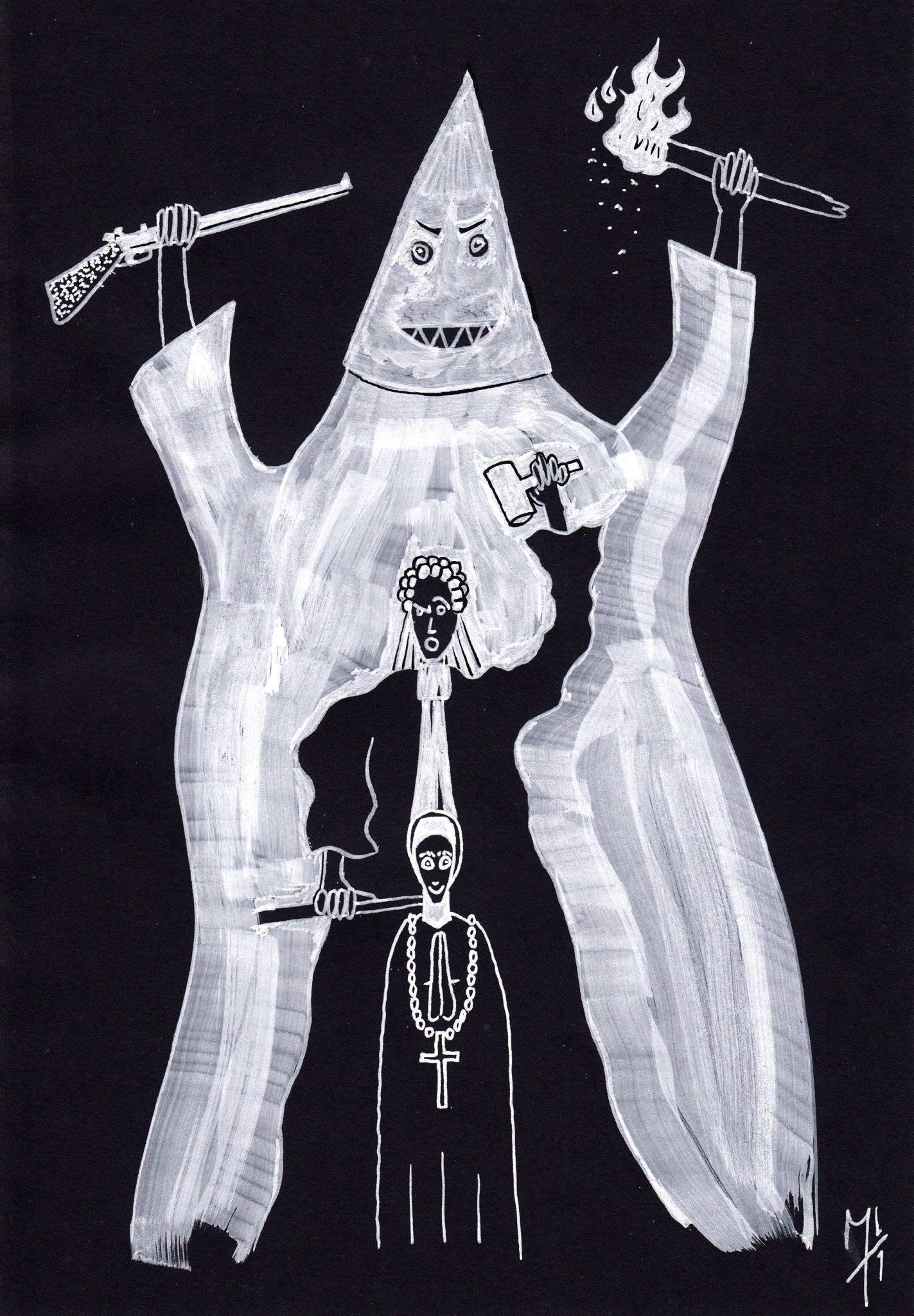Dessin blanc sur fond noir : trois personnages, l'un derrière l'autre. Au premier plan, le plus petit est une religieuse. Derrière elle, plus grand, se tient un juge en robe et perruque qui lève son marteau. Derrière lui, immense, un membre du Ku Klux Klan dans son costume blanc à capuche brandit d'une main un fusil et de l'autre, une torche allumée.