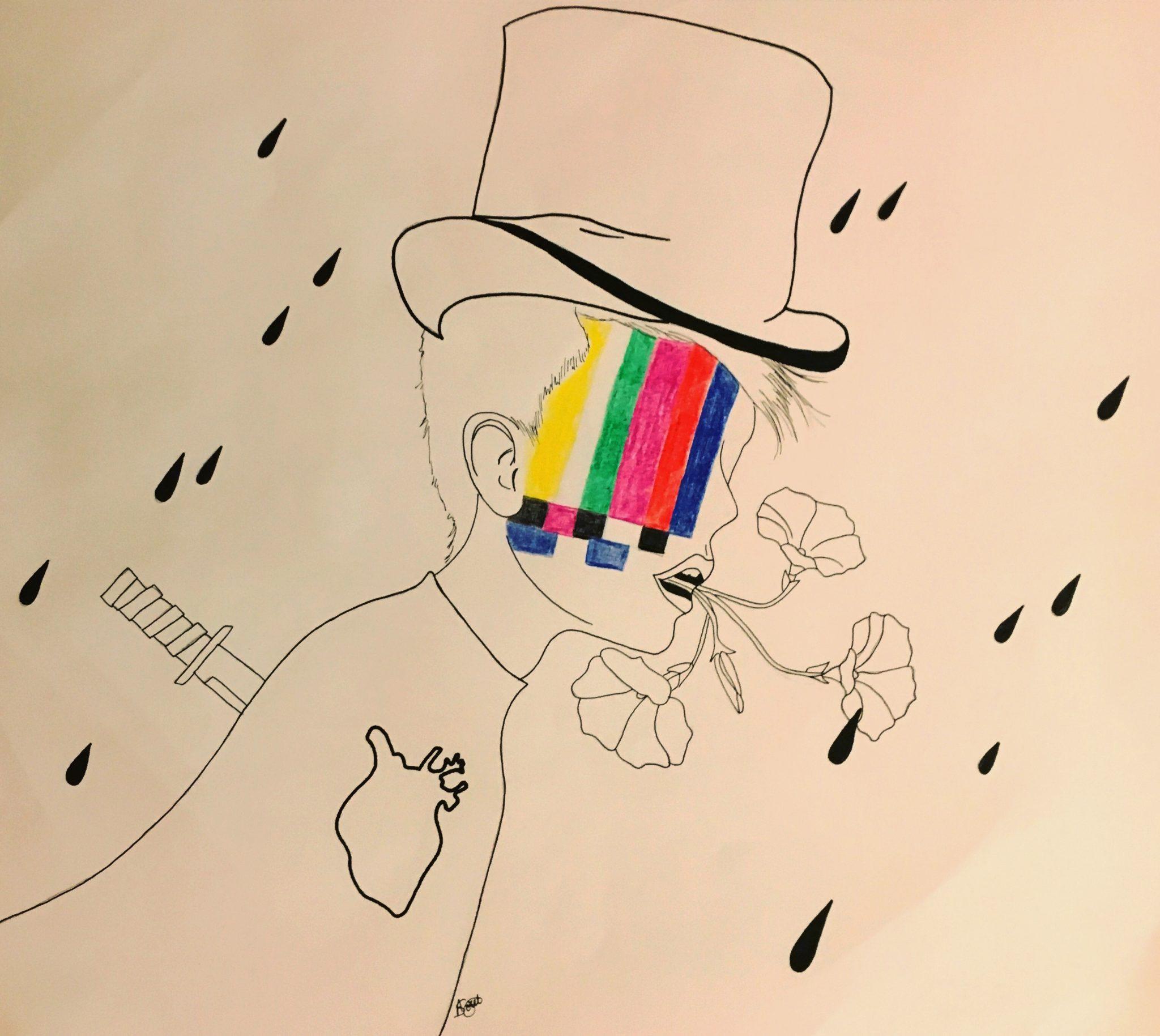 Dessin en noir et blanc et feutres de couleurs : le buste d'un personnage masculin de profil, portant un chapeau haut-de-forme, sous la pluie. Un couteau est enfoncé dans son dos, on voit le dessin de son coeur dans sa poitrine, des fleurs sortent de sa bouche ouverte. L'intérieur de son visage est remplacé par une mire colorée.