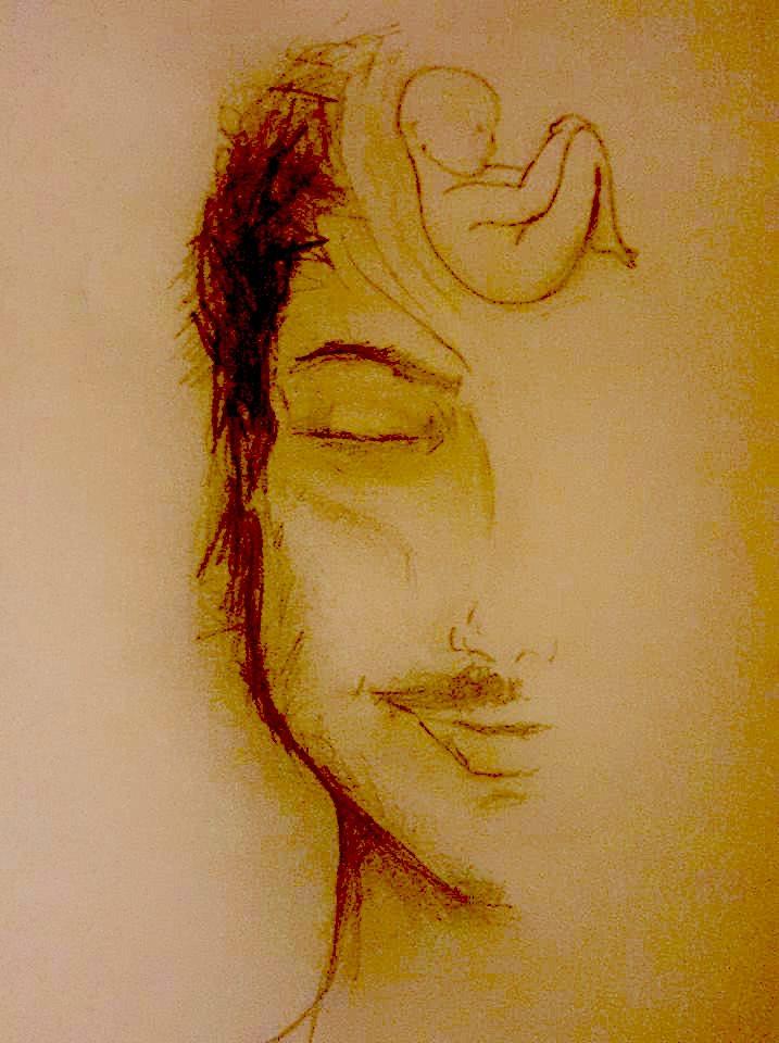 Dessin : un demi visage d'homme, l'oeil clos, avec un foetus au niveau du front.