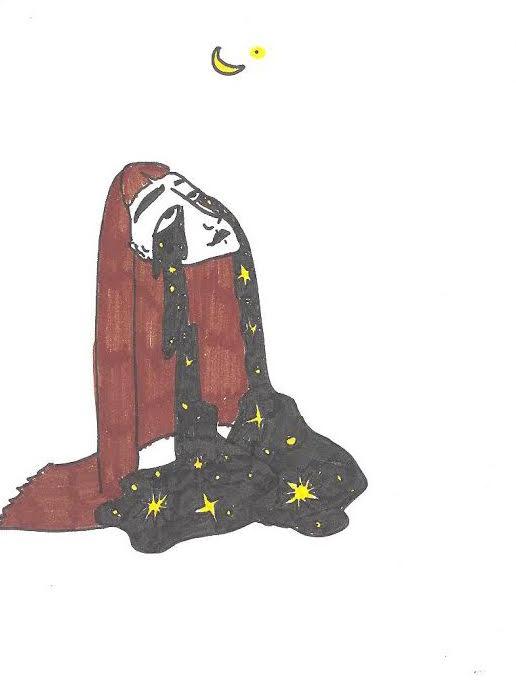 Dessin au trait noir : Tout en haut de la feuille, sur fond blanc, une petite lune jaune. En bas, une femme lève le visage vers la lune. Elle a de très longs cheveux bruns qui tombent en cascade sur le sol. Elle pleure. Deux longues traînées noires partent de ses yeux et s'étendent vers le sol... son corps est formé de ses larmes. Ce sont des larmes noires, comme du mascara qui coule ou du pétrole ou... un ciel nocturne. Les coulées noires se mêlent à ses cheveux, c'est comme une marre ou un corps. Il y a des étoiles qui s'allument dans la coulée noir. C'est peut-être bien le ciel.
