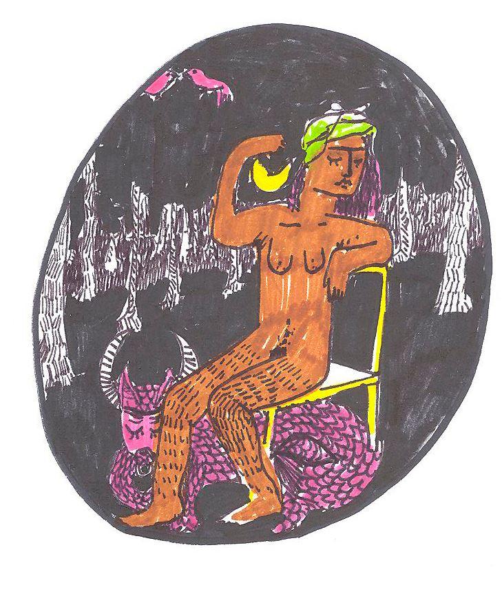 Dessin: Une femme assise sur une chaise, les yeux fermés, dans une foret sombre.  Un couple d'oiseaux rose se bécote.  Un monstre cornu et au corps écailleux est sous la chaise. La femme entoure la lune de son bras