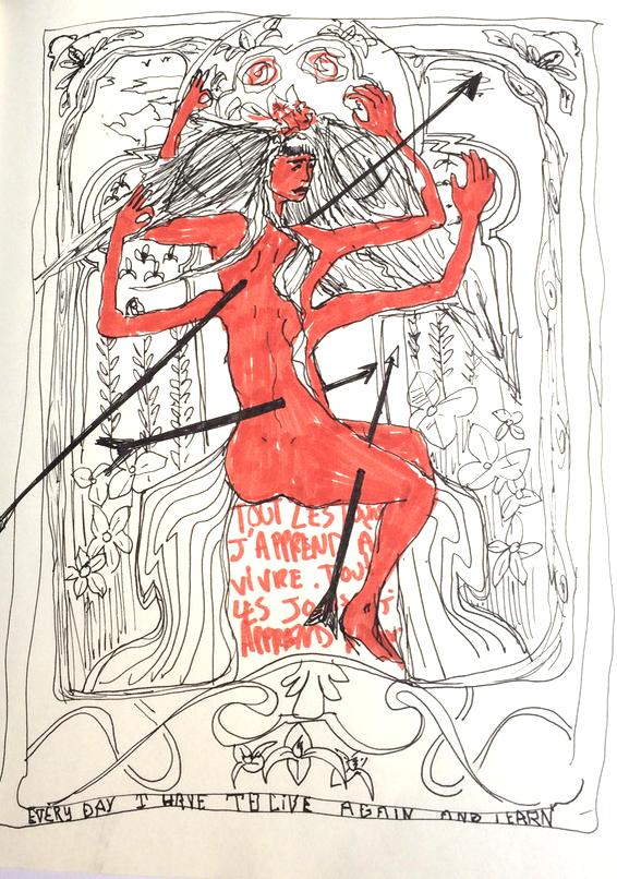 """Dessin, style d'inspiration art nouveau.  Au milieu de végétation, une femme rouge, cheveux long, quatre bras et nue est transpercée de 3 fleches.  Sous la femme une inscription: """"Tous les jours j'apprends à vivre, tous les jours j'apprends."""""""