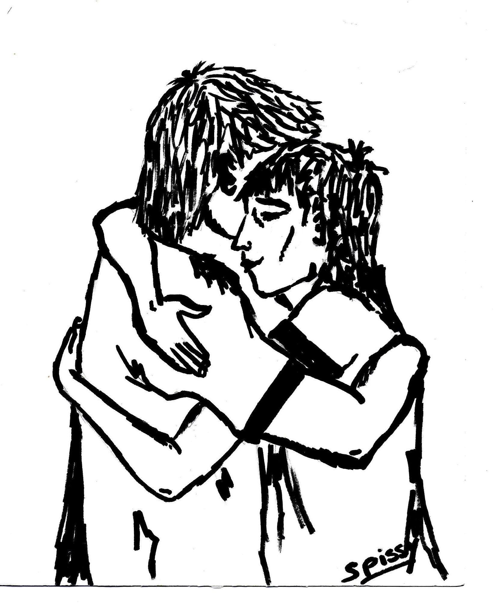 Dessin en noir et blanc, traits épais : deux personnes qui s'enlacent.