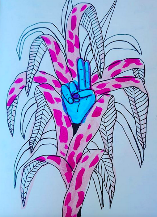 Dessin aux traits noirs, partiellement coloré : une plante aux longues feuilles tombantes dessinée en noir et blanc occupe toute la hauteur de la page. Les feuilles de la partie centrale sont colorées d'un fond rose pale et de taches roses plus foncées. Au milieu est dessinée une main bleue, l'index et le majeur tendus et les autres doigts repliés.