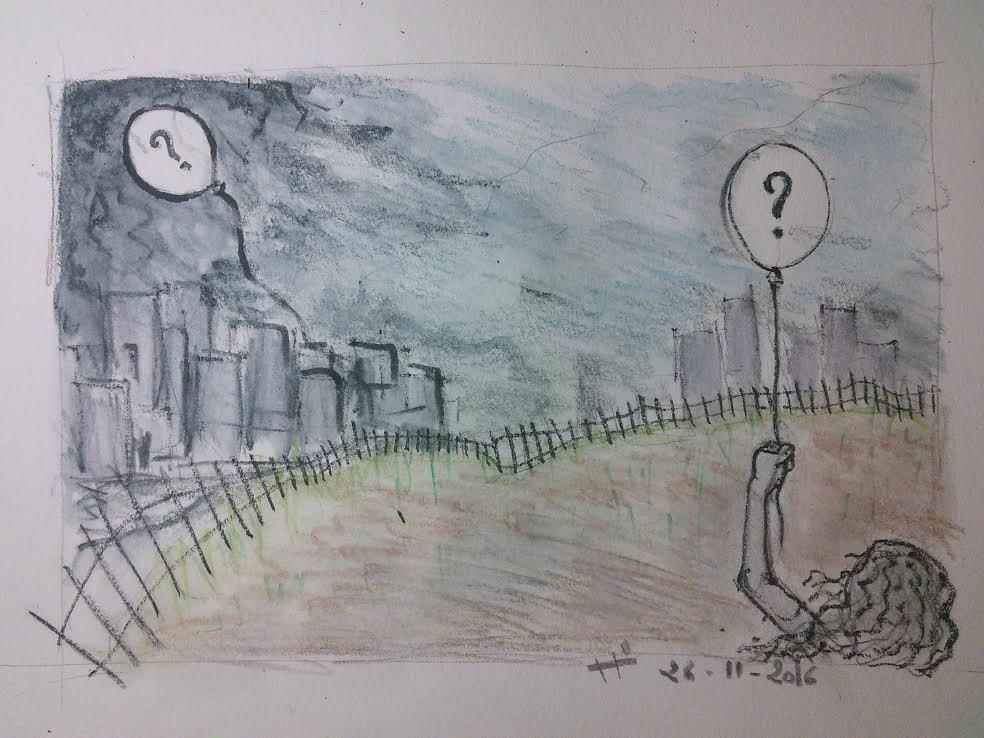 Dessin aux traits épais à dominante grise. Au premier plan, une jeune femme, de dos, tient un ballon de baudruche portant un gros point d'interrogation. Elle nous tourne le dos et fait face à une barrière qui découpe le dessin en deux. Derrière la barrière, un peu floue, on aperçoit une ville. Sur un des immeuble de la ville, flotte un immense ballon de baudruche, lui aussi portant un immense point d'interrogation.