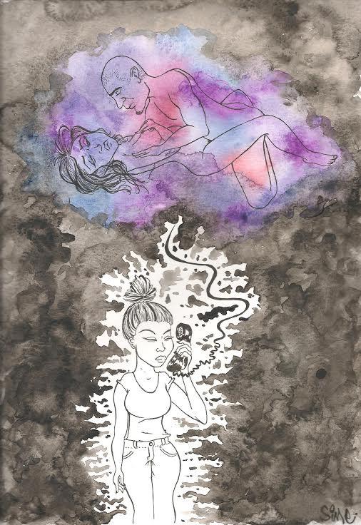 Aquarelle : sur un fond de gris nuancés, en bas, au centre, il reste un espace blanc, sur leuel est dessiné une jeune femme, de face. Elle ferme les yeux, elle est inquiète, elle tient un téléphone à son oreille. Le fil du téléphone monte vers le haut de la page et rejoint un nuage de couleurs pastelles (autre rupture dans le fond de gris). Dans le nuage, dessinés au trait fin, un homme et une femme, nus, ont une relation sexuelle. La femme n'est clairement pas heureuse.
