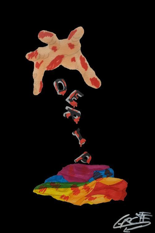 Dessin aux couleurs vives : sur fond noir, une image rectangulaire, plus haute que large. En bas, un drapeau LGBT (rainbow flag) chiffonnée et ensanglanté. En haut, une main ouverte et ensanglantée lâche une à une des lettres sanguinolentes qui en tombant, forment verticalement : OERIP. Le P est presque sur le drapeau.